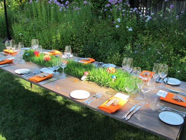 Kate's Blossoms, Quarryhill, Mendocino Trough Table with Wheat Grass